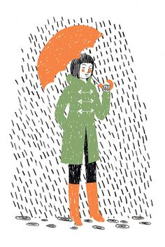 orange umbrella & boots, green coat, 2 color drawing; rainy drops
