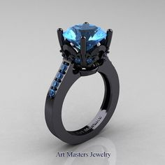 Classic 14K Black Gold 3.0 Carat Blue Topaz by artmasters on Etsy