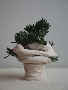 Zhu Ohmu's Coiled Ceramics. Standing vessel with twisted torso , 2016 Ceramic with Crassula Gollum Ikebana, Cerámica Ideas, Sculptures Céramiques, Ceramic Sculptures, Pottery Sculpture, Keramik Design, Coil Pots, Ceramic Pottery, Outdoor Gardens