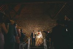 Wedding ceremony cooling castle barn in Rochester