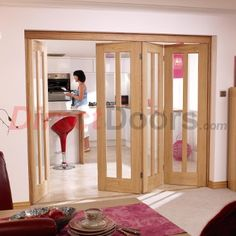 Image of Nuvu Roomfold Vermont Oak 4 Door Set 3 to Right - Clear Glass