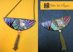 hand painted leather necklace