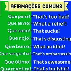 Inglês💙👉AFIRMAÇÕES COMUNS EM INGLÊS.. English Help, English Verbs, English Course, English Vocabulary Words, English Tips, Learn English Words, English Study, English Lessons, English Grammar