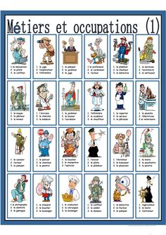 Métiers et occupations French Language Lessons, French Language Learning, French Lessons, French Flashcards, French Worksheets, French Teaching Resources, Teaching French, French Prepositions, Choix Multiple