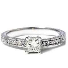 SALE!! .50CT Princess Cut Antique Vintage Diamond Engagement Ring 14K White Gold REVIEW