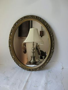 Charming Vintage Gesso Framed Mirror by nestingwren on Etsy