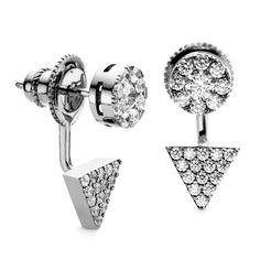 Black Rhodium Prism and Disc Swing Earring Ear Jacket, Black Rhodium, Ear Studs, Cufflinks, Rose Gold, Crystals, Sterling Silver, Stone, Earrings