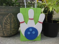 Bowling Pins and Ball Birthday Party Favor Bag.