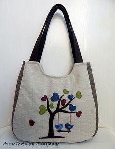 Szerelmes madárkák nagy pakolós táska, válltáska, kézitáska , Táska, Ruha, divat, cipő, Baba-mama-gyerek, Tarisznya, Meska