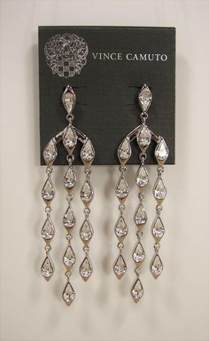 Vince Camuto Glam Punk Crytal Silver Tone Hypo Allergenic Chandelier Earrings - MSRP $78...Only $54.99 with free shipping! #VinceCamuto #Chandelier