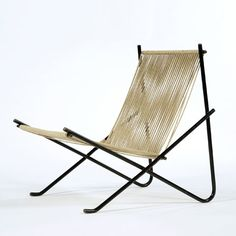 """Silla PK25 / Poul Kjærholm (3) 1952, """"Holscher"""" chair with welded steel tubular frame and natural halyard seat and back."""