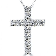 872fe1417a5d 2.00 Carat Natural Diamond Cross Pendant Necklace in 14k White Gold -  CR-032 -