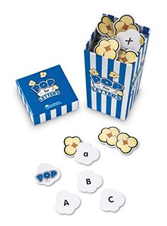 Learning Resoures POP for Letters A great grab-and-go game. Practice alphabet recognition and beginning letter sounds. Includes 100 die-cut popcorn cards with upper and lowercase letters, 8 pop cards, and guide. Fun for ages Learning Letters, Learning Resources, Early Learning, Learning Activities, Kids Learning, Learning Skills, Teaching Ideas, Letter Games, Phonics Games