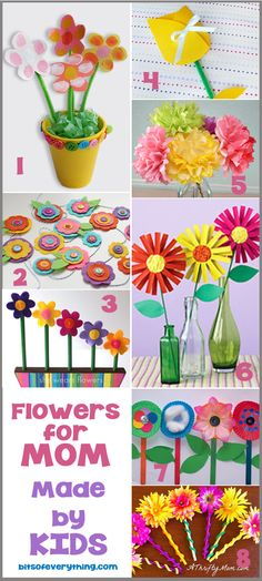 Flower Crafts For Mom by Holly--Try these cute Flower Crafts For Mom! Every mom loves flowers from her kids on Mother's Day. Her are some cute ways that your kids can make their own flowers to give mom and grandma.