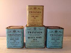 Vintage Twinings tea tins / aqua twinings tea tin / by MellaFina....I NEED these...