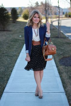 Polka dot skirt, navy blazer...perfect work outfit!  Click through for HUNDREDS of business casual office outfit ideas!