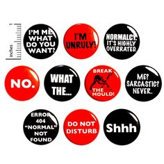 This 10 pack of edgy sarcastic buttons makes an epic gift! Buttons are great for backpacks or jackets! Magnets are great for refrigerators, mini fridges, and work, school, or gym lockers! All buttons have the same pin-back closure (or magnet back for magnets) shown in the pictures of the back (s Work Jokes, Work Humor, Sarcastic Quotes, Funny Sarcastic, Funny Quotes, Funny Memes, Funny Magnets, Funny Buttons, Work Gifts