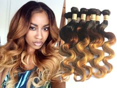 """3Bundles 150g Ombre Human Hair Extension 12""""-30"""" Body Wave 1b33#27# Weft Weaves #Wigiss #HairExtension"""