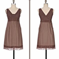 "Anthropologie: Moulinette Soeurs size 0 EUC!!! Gorgeous dress:) pointelle v-neck lace detail on top and bottom trim! Also has POCKETS. They thought of it all w/this one;) Shoulder to hem is 36"", armpit to armpit 15.5"". Hidden side zipper. Anthropologie Dresses Mini"