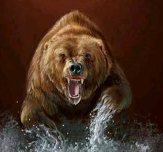 Grizzly Bear painting Bear Pictures, Animal Pictures, Large Animals, Animals And Pets, Bigfoot Photos, Native American Animals, Bear Paintings, Bear Tattoos, Bear Hunting