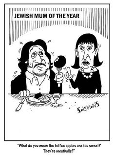 Cartoon for The Jewish News by Paul Solomons. Jewish Mum of the Year.