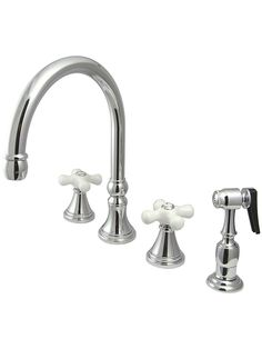 Bar Harbor Double-Handle Kitchen Faucet with Sprayer and White Porcelain Cross Handles   House of Antique Hardware
