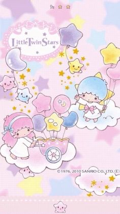 Sanrio Little Twin Stars Sanrio Wallpaper, Star Wallpaper, Wallpaper Iphone Cute, Cute Wallpapers, Phone Wallpapers, Little Twin Stars, Little Star, Sanrio Characters, Cute Characters