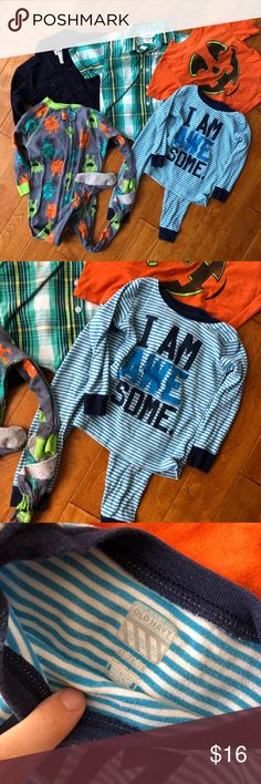 2T / 24 month baby boy bundle, 6 pieces in lot 1 t-shirt 1 longsleeve collared shirt 1 short sleeve collared shirt 1 two-piece pj 1 footed pj  Gently used. Old Navy Shirts & Tops Button Down Shirts