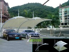 Private Garden Tensile Car Parking Sheds with PVDF Fabric Roof - Outdoor Automobile Parking Canopies for Villas Fabric Structure, Shade Structure, Shed Design, House Design, Tensile Structures, Fabric Canopy, Sound Proofing, Outdoor Living Areas, Private Garden