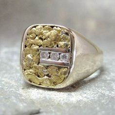 Vintage Gents Diamond and Natural Gold Nugget Ring - from A Second Time