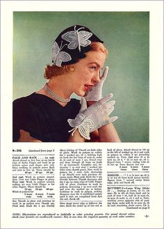 Such a wonderfully fun, youthful pair of crochet gloves and matching hat. #butterfly #hat #gloves #1950s #vintage #crochet