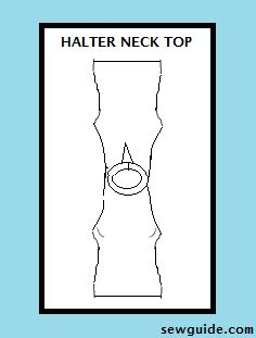 Halter neck top - A DIY pattern - Sew Guide Diy Halter Top, Halter Neck Maxi Dress, Halter Dresses, Halter Tops, Diy Fashion Tops, Fashion Sewing, Up Girl, Sewing Patterns, Sewing Ideas