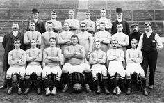 """This is probably the first Chelsea team as the photo was taken in 1905 the year they were founded.The large gentleman in the front row is their goalkeeper Bill """"Fatty"""" Foulkes"""