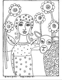 RUG HOOK PAPER PATTERN Angel & Sheep FOLK ART ABSTRACT PRIMITIVE by Karla G | eBay