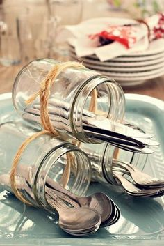 Decoration tip for the cutlery when you go out and . - # if Decoratie tip voor het bestek als je buiten gaat e… – Decoration tip for the cutlery when you go out and … – # cutlery going - tisch Decoration Buffet, Deco Buffet, Dining Buffet, Diy Decoration, Deco Champetre, Wedding Decorations, Table Decorations, Centerpieces, Cutlery