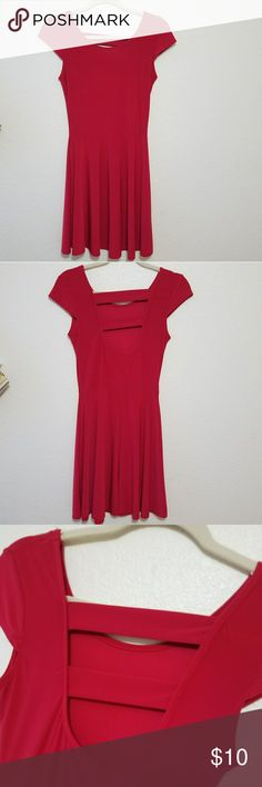 """Red Dress With Cute back  Regular sleeved  """"Skater"""" style bottom (:  It has a little stretch to it I took off the size tag but it's a small Dresses"""