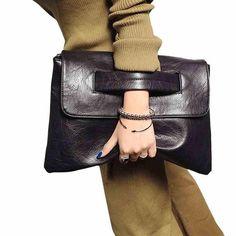 "HOT PRICES FROM ALI - Buy ""Hot Selling Women envelope clutch bag leather women Crossbody Bags for women trend handbag messenger bag female Ladies Clutches"" for only USD. Black Clutch Bags, Leather Clutch Bags, Leather Handbags, Leather Crossbody, Leather Purses, Clutch Purse, Crossbody Messenger Bag, Tote Bag, Satchel"