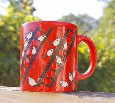 Waechtersbach W Germany RED Coffee MUG White Mice Black Ladders Rodents Mouse   eBay