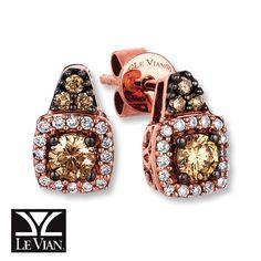 Kay - LeVian Chocolate Diamonds 3/8 cttw Earrings 14K Strawberry Gold