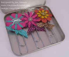 Bookmarks + Gift Tin by - Cards and Paper Crafts at Splitcoaststampers Paper Clips Diy, Paper Clip Art, Paperclip Crafts, Paperclip Bookmarks, Trombone, Crafts To Do, Paper Crafts, Book Markers, Tin Gifts