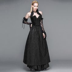 Gothic Sexy Strapless Dress Steampunk Black Floral Lace Backless
