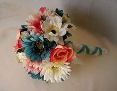 Bridal Bouquet Coral Turquoise teal Silk Wedding Flowers