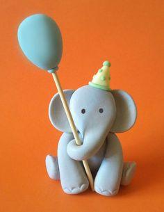 Fondant Elephant Cake Topper - 1 Elephant with Balloon