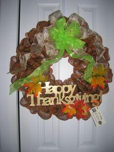 Happy Thanksgiving Wreath $40
