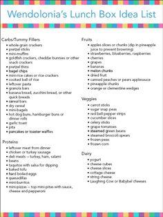 Lunch box idea list from Wendolonia! http://wendolonia.com/blog/bento-box-basics/lunch-box-idea-list/