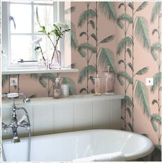 Palm Leaves by Cole & Son - Alabaster Pink and Mint - Wallpaper : Wallpaper Direct Mint Bathroom, Kid Bathroom Decor, Girl Bathrooms, Boho Bathroom, Laundry In Bathroom, Dream Bathrooms, Bathroom Colors, Bathroom Ideas, Mint Wallpaper