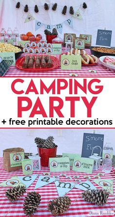 Camping Party Movie Night with Free Party Printables - Love to go camping but can't leave home? Host a camping party in your backyard with these free camping themed printables. Perfect for a birthday party or movie night. AD #camping #party #freeprintable