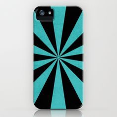 aqua and black starburst iPhone  iPod Case by her art