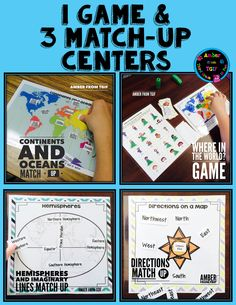 Directions, Continents and Hemispheres!  Oh my!  Have a great time with these centers activities, activity sheets, and game with your students.  Complete unit even includes a final test.