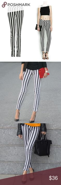 9df95e5f363 Zara Trafuluc Black and White Striped Jeans Very cute and stylish pants.  Looks awesome with
